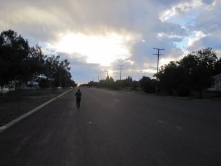 Hinemoana walking down the long streets of Blackall